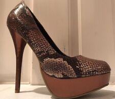 Charlotte Russe Brown & Gold Snakeskin Platform High Heels Size 7