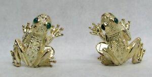 DESIGNER KURT WANE 18K YELLOW GOLD FROGS WITH EMERALD EYES MEN'S CUFFLINKS