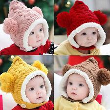 1 X Baby Hat Boy Girl Winter Fur Ball Bonnet Infant Ear Protector Cute Cap MD