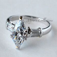 Anniversary Wedding Engagement Ring Size 10 2.0 Carat Marquise Cut Cz Classic