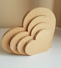 MDF CRAFT SHAPE. WOODEN 3D HEART. 18MM FREE STANDING 18CM LONG