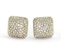 Vintage Kenneth Lane Silver Tone Pave Rhinestone Clip On Earrings