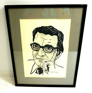 "NICK RUGGIERI drawing signed by R Chiavetta original artwork 14.5"" x 18.5"" frame"