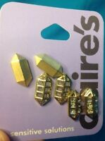 Three Pairs Claire's Sensitive Solutions Gold Tone Rhinestone Pierced Earrings