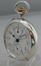 1890's Split Seconds Rattrapante Chronograph .900 Coin Silver Pocket Watch