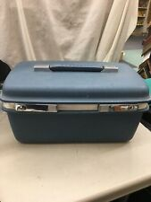 VIntage Samsonite Saturn Blue Train Case Suitcase Luggage Make Up tray