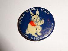 "vintage Peter Rabbit Club The Utica Observer pinback 7/8"""