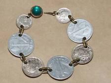 """Vtg WWII 1943 French 1 Franc & 1944 Netherlands 10 & 25 Cent Coin Bracelet 7.25"""""""
