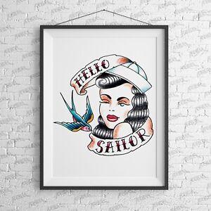 Hello Sailor Art Print wall Alternative Suicide Girl tattoo NME Tattoo jerry