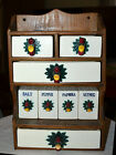 VINTAGE MID-CENTURY ROOSTER PULLS, WOOD WALL SPICE RACK, CERAMIC DRAWERS~SHAKERS