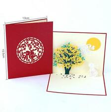 3D Pop Up Card Rabbit The Moon Children Tree Greeting Gift New Happy Cards