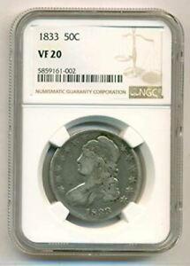 1833 Capped Bust Half Dollar VF20 NGC