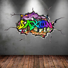 a todo color personalizado 3d Grafiti NOMBRE roto Adhesivo de pared wsd121