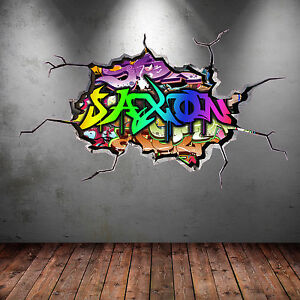 FULL COLOUR PERSONALISED 3D GRAFFITI NAME CRACKED WALL STICKER DECAL WSD121