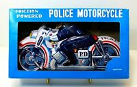 "Vintage Friction Powered 8"" Tin Litho Police Motorcycle MIB Japan"
