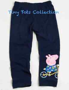 BNWT New with tags girls Peppa pig leggings pants navy blue pink size 1