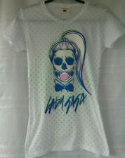 Lady Gaga T Shirt White Green Polka Dots Junior Medium