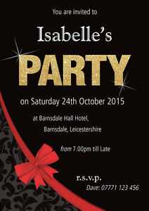 PERSONALISED BIRTHDAY PARTY INVITES SILVER OR GOLD Invitations Pack of 10