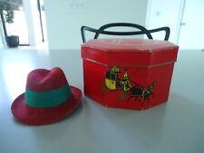 Vintage Dobbs Red Fifth Avenue Salesman Sample Box and Fedora Hat