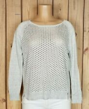 GAP Womens Size XS Long Sleeve Shirt Gray Eyelet Front Light Cotton/Poly Top