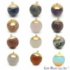 Gemstone Ball Pendant Single Bail Stone Connector Gold Electroplated Round Charm