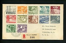 Postal History Switzerland Scott #328-339 Definitives Registered FDC 1949