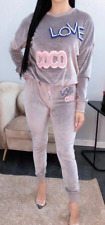 Ladies  Velour Love Coco Tracksuit Co-Ord Set Loungewear