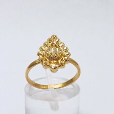 22k Gold Ornate Beaded Teardrop Ring Sz 5.75