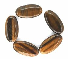 5 Natural Tiger's Eye Flat Oval Beads 16x30mm K4600