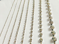 Rhinestone/Diamante Crystal Chain Glass SILVER A++ Quality Trim Ribbon UK