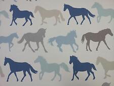 "Clarke and Clarke Stampede Horses Denim Vintage Fabric 137cm/54"" wide"