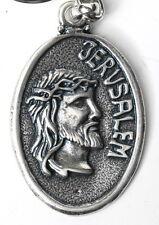 Jesus Christ Keychain Oval Key Ring Jerusalem City Holy Land Crucifix Christian