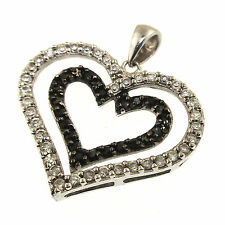 SU Black White CZ Double Heart Pendant Sterling Silver Unlimited Love Romance CH