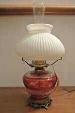 Cranberry Etch Table Lamp with  Milk Glass GWTW Shade and Clear Glass Chimney