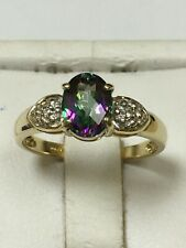 Stunning 9 Carat Yellow Gold DIAMOND & MYSTIC TOPAZ CLUSTER Ring