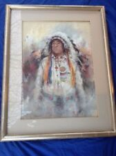DEE TOSCANO PASTEL #730 Indian with Headress - Signed by artist