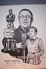 Frank Sinatra drawing with mic & Oscar, original signed & numbered lithograph