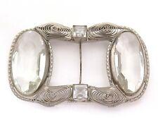 Antique Victorian Spun Wire Large Bezel Set Clear Stone Slide Buckle*Wedding