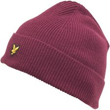NEW LYLE & SCOTT VINTAGE KNITTED RIBBED ADULT CLARET JUG BEANIE HAT LAMBSWOOL