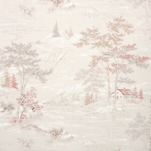 1950s Senic Vintage Wallpaper Mountain Landscape with Houses Gray Beige Pink
