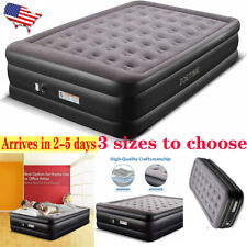 Twin/Queen/King Size Pillow Rest Inflatable Air Mattress Bed with Built-In Pump