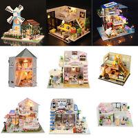 DIY Miniatur Puppenstube Holzhütte Puppenhaus Dollhouse Villa Spielzeug Geschenk