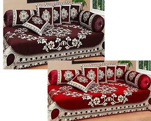 Indian Velvet 500TC Sofa Diwan Set Diwan Cover Cushion Covers Bolster Covers