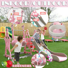 5 In 1 Fun Swing Set Kids Playground Slide Outdoor Backyard Playset Us Stock In