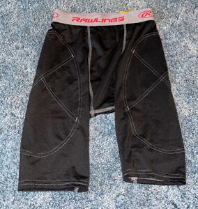 NWT Men's Rawlings Baseball Sliding Shorts, Black, Sz Small.