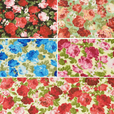 Polycotton Fabric Roses Fully Blooming Large Heads Floral