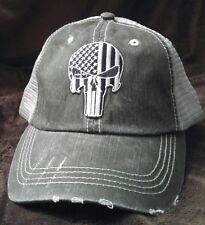 Punisher Distressed Trucker Cap Low Profile Cotton Mesh USA SWAT Punisher Hat