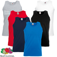 Fruit Of The Loom MEN'S ATHLETIC VEST PLAIN TANK TOP SMART FIT GYM SPORTS COTTON