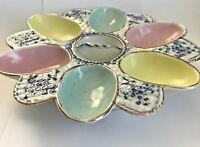 Antique Deviled Egg Plate Porcelain Pastels Flow Blue ? Easter Marked DEP