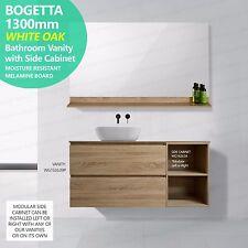 BOGETTA 1300mm White Oak Timber Look Wood Grain Vanity w Open Side Shelf MODULAR